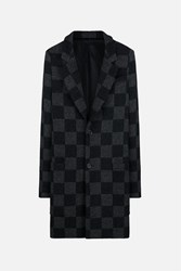 Ami Alexandre Mattiussi Checked Plaid Two Buttons Coat Grey