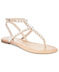 Inc International Concepts Madigane Embellished Flat Sandals Only At Macy's Women's Shoes Beige