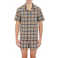 Sleepy Jones Men's Plaid Henry Pajama Top Navy Yellow No Color Navy Yellow No Color