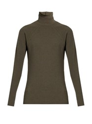 Haider Ackermann Roll Neck Cotton And Wool Blend Sweater Khaki