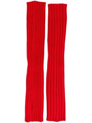 Erika Cavallini Ribbed Fingerless Gloves Red
