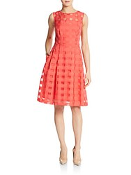 Ellen Tracy Party Fit And Flare Dress Coral