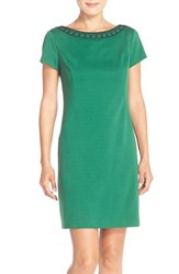 Women's Ellen Tracy Beaded Neck Ponte Sheath Dress Emerald