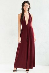 Glamorous Plunging Knit Wide Leg Jumpsuit Maroon