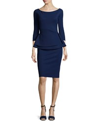 La Petite Robe Di Chiara Boni Tilda 3 4 Sleeve Peplum Sheath Cocktail Dress Blue Notte