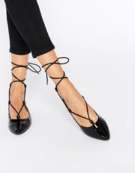 Glamorous Black Patent Ghillie Flat Shoes Black Patent