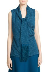St. John Women's Collection Fil Coupe Surplice Shell With Fringed Scarf Tanzanite