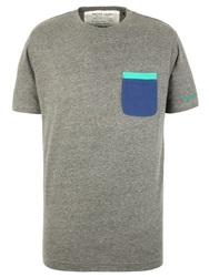 Racing Green Becker Plain Crew Neck Regular Fit T Shirt Grey