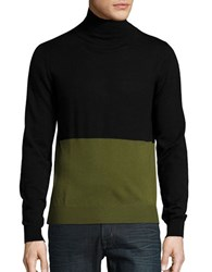 Hans Kjobenhavn Mock Neck Colorblocked Sweater Army Green Black