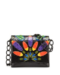 Nancy Gonzalez Gio Peacock Crocodile Chain Crossbody Bag Black Multi