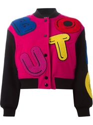 Boutique Moschino Leather Applique Bomber Jacket Pink And Purple