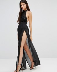 Naanaa Sheer High Neck Maxi Dress With Sequin Bodice Black