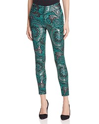 Alice Olivia Stacey Paisley Skinny Ankle Pants Green Multi