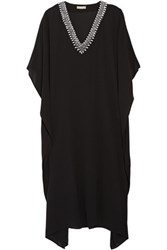 Michael Kors Collection Embellished Silk Chiffon Maxi Dress Black