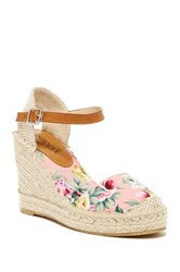 Bucco Flowery Round Toe Wedge Pink
