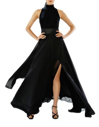 Theia Mockneck Double Slit A Line Gown Black