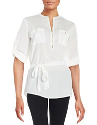 Calvin Klein Zip Placket Tunic Soft White