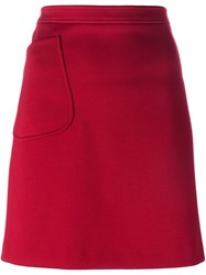 Jil Sander Navy Patch Pocket A Line Skirt Red