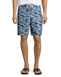 Tailor Vintage Whale Print Swim Trunks Woody Blue