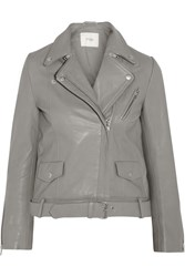 Maje Edouard Leather Biker Jacket Gray