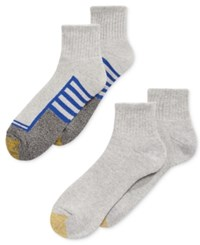 Gold Toe Men's Socks Athletic Cushion Quarter 4 Pack Grey