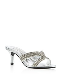 Caparros Cynthia Metallic High Heel Slide Sandals Silver