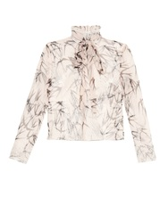Rochas Swallow Print Silk Chiffon And Lace Blouse