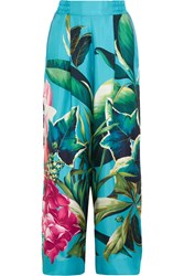 Printed Silk Twill Wide Leg Pants Turquoise