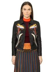 Tory Burch Maddie Flower Patches Leather Jacket