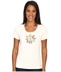 Life Is Good Circle Leaves Crusher Scoop Tee Simply Ivory Women's Short Sleeve Pullover White