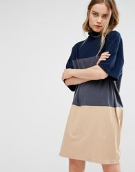 Paisie Turtle Neck Jersey Dress With Three Wide Stipes Multi