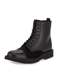 Prada Lace Up Leather Military Boot Black