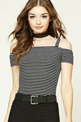 Forever 21 Stripe Open Shoulder Crop Top Black Ivory