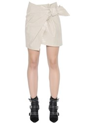 Isabel Marant Coated Cotton Mini Skirt With Bow