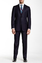 Hickey Freeman Solid Wool Suit Blue