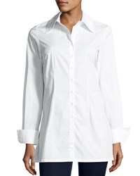 Neiman Marcus Button Front Cotton Long Sleeve Blouse White