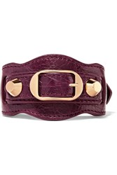 Balenciaga Arena Textured Leather And Gold Tone Bracelet Burgundy