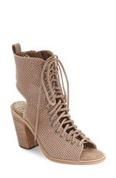 Dolce Vita Women's Lira Lace Up Open Toe Bootie Light Taupe Suede
