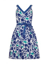 Yumi Tropical Bird Camouflage Print Fit And Flare Dress Blue