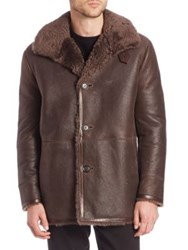 Vince Long Sleeve Leather And Shearling Coat Brown