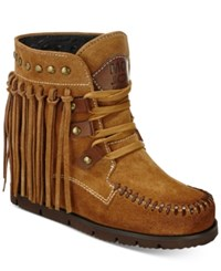 Mojo Moxy Neverland Fringe Wedge Booties Women's Shoes Natural