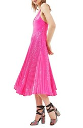 Topshop Women's Sequin Pleated Dress Bright Pink
