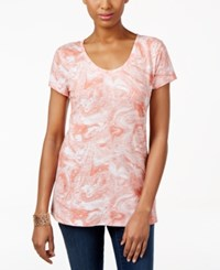Styleandco. Style And Co. Marble Print T Shirt Only At Macy's Coral Combo