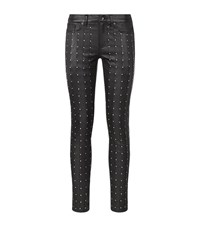 Rag And Bone Hyde Leather Studded Trousers Female Black
