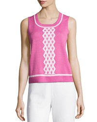 St. John Santana Knit Diamond Pattern Tank Peony Bright White