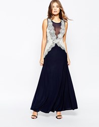 Ax Paris Maxi Dress With Lace Side Panels Navy