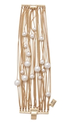 Juliet And Company Runway Multi Strand Pearl Bracelet Gold Ivory