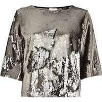 River Island Womens Silver Sequin Top