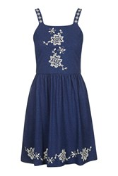 Topshop Embroidered Pinafore Dress Blue
