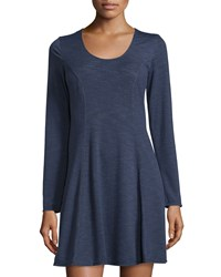 Max Studio Weekend Crewneck French Terry Dress Faded Indigo